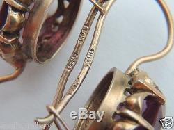 Huge Alexandrite Woman Earrings Vintage Russian Sterling Silver 875 Change Color