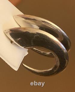 Huge Vintage Estate Sterling Silver 3d Puffy Hoop Modernist Earrings 1.5