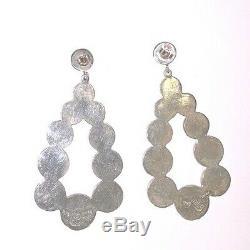 Huge Vintage Taxco Mexico Signed Los Ballesteros Sterling Silver Drop Earrings