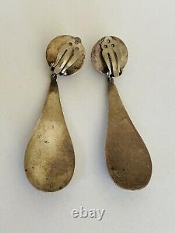 Huge Vintage Taxco Mexico Sterling silver Modernist Dangle Drop Earrings 34Grams