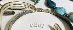 Huge Vtg Lot Sterling Silver Native American Turquoise Cuffs Rings All Wear