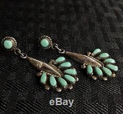 Important Sterling Vintage ZUNI Bill Lou Laweka Petit Point Dangle Earrings