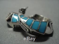 Important Vintage Navajo Lonn Parker Turquoise Sterling Silver Earrings Old