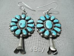 Impressive Vintage Navajo Turquoise Cluster Sterling Silver Earrings