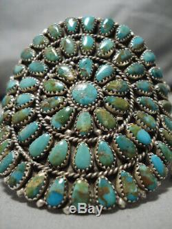 Incredible Vintage Navajo Royston Turquoise Sterling Silver Cluster Earrings