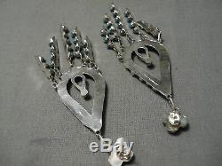 Incredible Vintage Zuni American Blue Gem Turquoise Sterling Silver Earrings