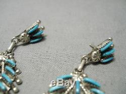 Incredible Vintage Zuni Native American Long Turquoise Sterling Silver Earrings