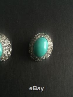 Jade Clip On Sterling Silver Earrings Vintage