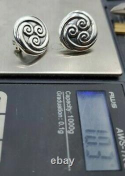 James Avery retired VTG Sterling Swirls Circle Earrings