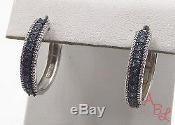 Jane Seymour Sterling Silver Vintage Huggie Blue Diamond Earrings (6.1g) -497179