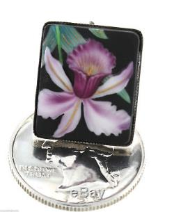 Japanese Oriental 925 Sterling Silver Toshikane Orchid Floral Vintage Earrings