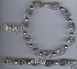 Jewelart Vintage Sterling Silver Grapes Necklace Bracelet & Earrings Set