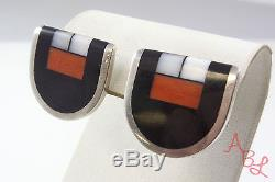 Jim Harrison Sterling Silver Vintage 925 Modernist Onyx Earrings (5.7g) 528339