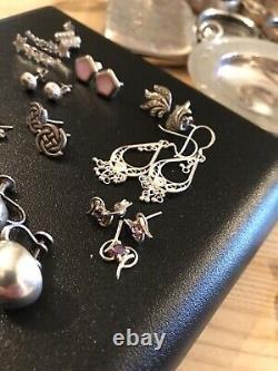 Job Lot Vintage Jewellery 925 Sterling Silver Earrings x16 Pairs Nice Lot, Lot26