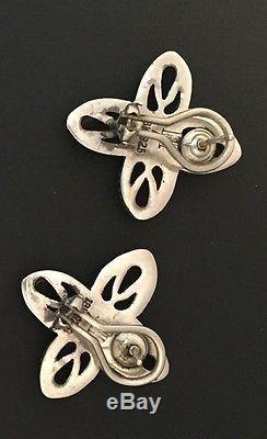 John Hardy Vintage Estate Floral Earrings 925 Sterling Silver 18k