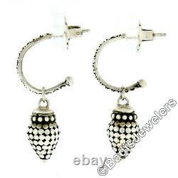 John Hardy Vintage Sterling Silver Beaded Drop Dangle Hoop Retired Post Earrings