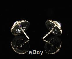 Kabana Signed Vintage Natural Amethyst 14K Gold & Sterling Silver Stud Earrings