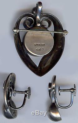 Kalo Hand Wrought Vintage Sterling Silver Heart & Swirls Pin Earrings Set