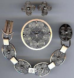 Klagenborg Denmark Vintage Modernist Sterling Silver Bracelet Pin & Earrings Set