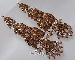 Large Vintage Antique Gilt Sterling Silver Salmon Red Coral Dangle Earrings