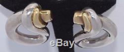 LARGE VINTAGE DAVID VARSANO STERLING ELECTROFORM MODERNIST CLIP ON EARRINGS