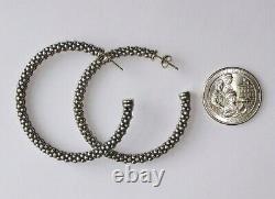 LG Vintage LAGOS CAVIAR 925 Sterling & 18KT White Gold Stud Hoop Earrings