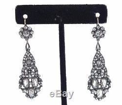 LONG 2.5 Vtg GERMAN Art Deco PASTE Sterling Silver 10k Gold Earrings 1920s 30s