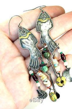 LONG 4 Vtg Modernist Sterling Silver & Brass Gemstone FISH Earrings Tabra Style