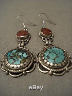 Long Vintage Navajo Turquoise Sterling Silver Earrings