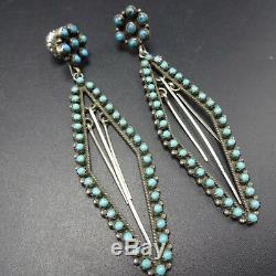 LONG Vintage ZUNI Sterling Silver TURQUOISE Snake Eye Petit Point EARRINGS