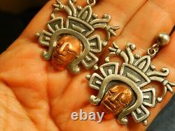 LOPEZ Sterling Copper AZTEC CHIEF Dangle EARRINGS Vintage FACE Mixed Metals