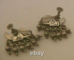 LOS CASTILLO Vintage TAXCO Mexico Sterling Silver DANGLE Screw Back Earrings