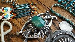LOT 821 Grams Vtg. Native American Turquoise Coral Sterling Silver Jewelry 925