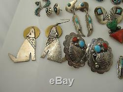 LOT OF 19 PAIRS OF VINTAGE NATIVE AMERICAN STERLING SILVER EARRINGS SIGNED