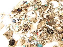 LOT STERLING Silver Miscellaneous Southwest Vintage Turquoise Scrap 481.0g