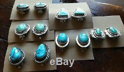 LOT of 6 Vtg. NAVAJO Native American Handmade Turquoise Sterling Clip EARRINGS