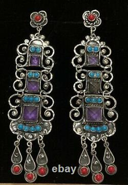Large Mexican Sterling Silver Turquoise Amethyst Vintage Matl Style Earrings