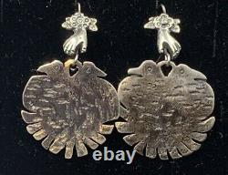 Large Mexican Sterling Silver Vintage Style Milagros Hand Bird Earrings