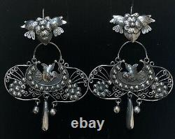 Large Mexican Vintage Style Sterling Silver Love Birds Frida Earrings