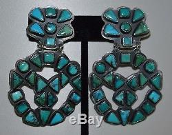 Large NAVAJO Vintage SPIRIT WINDS LVW Sterling Silver Turquoise Clip Earrings