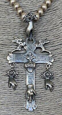 Large VTG Style Mexican Sterling Silver Milagros Cross Pendant Oaxaca Mexico