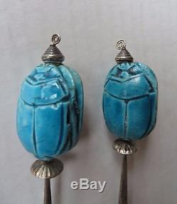 Large Vintage Egyptian Sterling Silver Blue Glazed Faience Scarab Clip Earrings