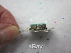 Large Vintage JOAN SLIFKA Sterling Silver TURQUOISE CROSS Pierced DROP Earrings