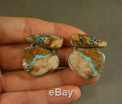 Large Vintage Native American Turquoise Earrings Sterling Silver signed RD