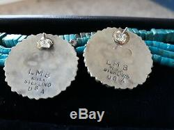 Large Vintage Navajo LM BEGAY Sterling Silver & Turquoise Petit Point Earrings