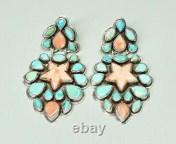 Large Vtg Signed Oscar Betz Turquoise & Coral Star Sterling Post Earrings 2 3/8