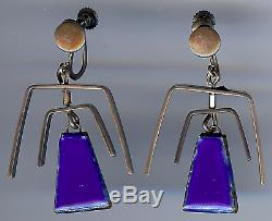 Lewittes Vintage Modernist Sterling Silver Blue Enamel Kinetic Dangle Earrings
