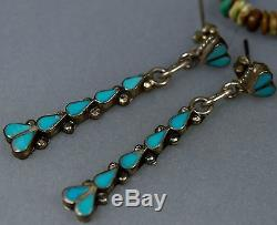 Long Old Pawn Vintage Zuni Navajo Petit Point Turquoise Dangle Sterling Earrings