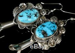 Long Solid Old Pawn Vintage NAVAJO Sterling Turquoise Squash Blossom Earrings