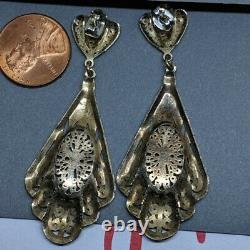 Long Vintage Filigree Sterling Silver Victorian Revival Chandelier Earrings